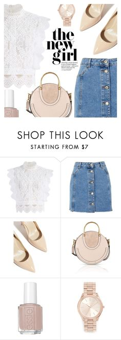 """""""Feel the Spring Breeze: Sleeveless Tops"""" by simplynatonya ❤ liked on Polyvore featuring Chicwish, Topshop, Karen Millen, Chloé, Essie, Michael Kors, lace, Sleeveless, denimskirts and denimandlace"""
