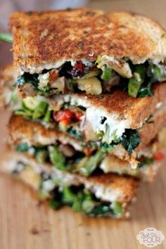 roasted vegetable grilled cheese.