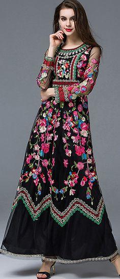 Ethnic O-Neck Long Sleeve Embroidery Maxi Dress