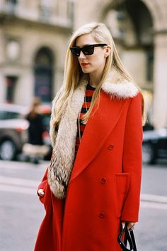 Red coat and fur...