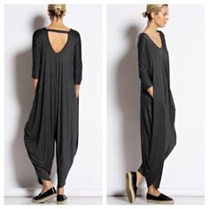 Harem jumpsuit Gorgeous 3/4 sleeves harem jumpsuit with side pockets great great relaxed style PLEASE COMMENT on the size and color you want and allow me to make you a personalized listing BUNDLE and save 10% Dresses
