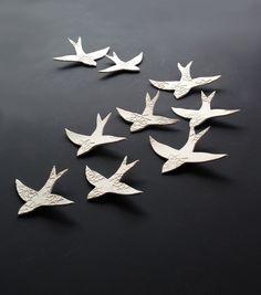 Ceramic wall art Swallows over Morocco Porcelain Wall hanging sculpture Bird wall art set of nine - diy with foils