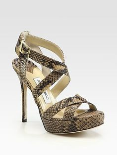 Jimmy Choo  Vamp Snake-Print Leather Platform Sandals