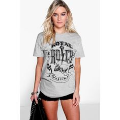 Boohoo Nicole Printed Graphic Rock Tee ($14) ❤ liked on Polyvore featuring tops, t-shirts, grey marl, long sleeve t shirt, graphic tees, ribbed tee, long sleeve graphic tees and long sleeve tee
