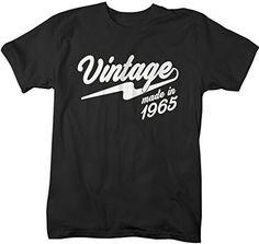 Shirts By Sarah Men's Vintage Made In 1965 T-Shirt Retro Birthday Shirts