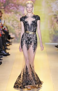 Black embellished sheer dress | Zuhair Murad Spring Summer 2014 Haute Couture #fashion