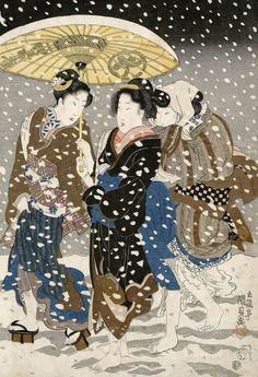 Three women walking in the snow.. Ukiyo-e woodblock print, 1820's, Japan, by artist Utagawa Kunisada I