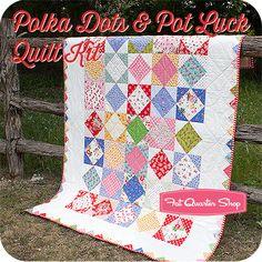 Polka Dots & Pot Luck Quilt Kit Featuring Lakehouse Fabric - Fat Quarter Shop