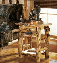 Cabela's Extra-Gnarly Aspen Log One-Drawer One Door Nightstand, this is what I want in every room log pole furniture even our dining table