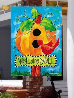 "Pumpkin Birdhouse Large Flag by Custom Décor, Inc.. $6.00. Bright Beautiful Artwork. Garden Flag Outdoor Décor. Permanently Dyed with a Vivid Color Process. 100% Polyester - Fade & Mold Resistant. Flag Measures Approximately 28"" x 40"". ##################################################################################################################################################################################################################################################..."