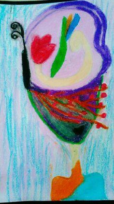 """Oil pastel """"Floral Lady"""""""