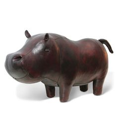 "Leather hippo. Jonathan Adler. $895. Oh how I wish I owned this lovely hippo. He'd match my Zuny hippo ""budy""...but SO much bigger!"