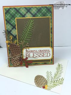 Stamps-N-Lingers.  Christmas Pines stamp set and Pretty Pines Thinlits.  Sentiment from Paisleys & Posies. New Copper Foil. https://stampsnlingers.com/2016/08/07/stampin-up-blessed-by-pines-and-paisleys/