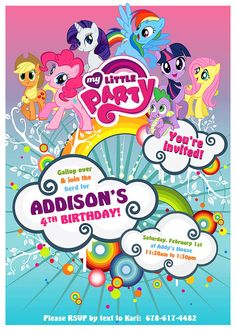 My Little Pony Birthday Invitation Design - Customized to your child's party info - Print Yourself - My Little Brony
