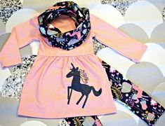 Unicorns are real, you know?! Such a cute outfit with matching scarf!    Divas on a dime coop, baby girl, toddler girl, little girls, outfits, fashionista, icings, boutique outfit, headbands, leggings, holiday, ruffles, fall, winter, unicorn, leggings