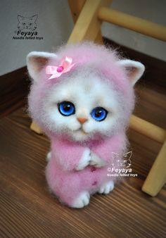 That face! Needle felted kitten in pink pajamas by Olga Zakrevskaya a/k/a Feyaya from Belarus