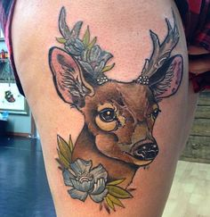 Dainty, pretty deer with flowers by Amelie Fleury, Private Tattoo, Montreal