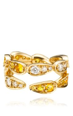 White Gold Ring with White Diamonds And Yellow Sapphires by Sabine G, Pre-Fall 2014 (=)