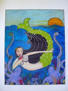 Original Signed Painting Mermaid and by PamelaJoyceDesigns, $1100.00