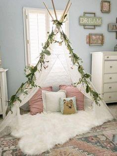 little-girl-decor-and-bedroom-reveal-bless-this-nest-big-girl-bedroom-ideas-wallpaper-in-girls-room-reading-nook-teepee-in-girls-room-bedroomdiy/ SULTANGAZI SEARCH Girl Bedroom Designs, Room Ideas Bedroom, Small Room Bedroom, Small Rooms, Modern Bedroom, Contemporary Bedroom, Master Bedroom, Bedroom 2018, Bedroom Decor Kids