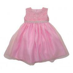 Little Girls Pink Rhinestone Embellished Overlaid Flower Girl Dress 2T-6X