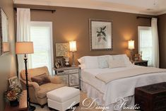 """Master bedroom curtain - this white look is exactly the """"look"""" I'm going for - funny we have the same set up - windows on both sides of our bed like this - great visual for seeing what it actually will look like."""
