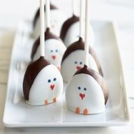 Penguin pops...dip strawberries first in chocolate, let harden, then lay the front in white chocolate, let harden and then use edible markers to draw on face.