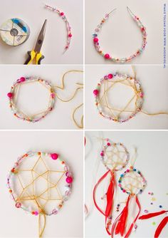 Simple Dream Catcher: Wire Ring of Beads. Add web string and ribbons.