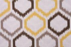 Robert Allen - Dwell Studios Ikat Trellis Printed Cotton Drapery Fabric in Citrine $17.95 per yard