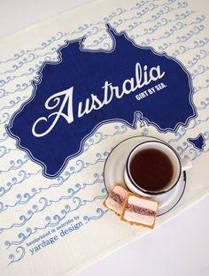Girt by Sea :: Australia :: Tea Towel by yardage design ~ hand printed fabric and homewares