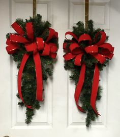Christmas Swag Pair, Simple Swags, Plain Swags, Red Bow Swags by LisasLaurels on Etsy