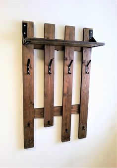 """This item is unavailable Clothes rack wooden, Entryway wall coat hanger, Coat rack, Clothes rack """"RAGNAR"""" Hanger Rack, Coat Hanger, Coat Racks, Wooden Pallets, Wooden Diy, Diy Clothes Rack Pipe, Clothing Racks, Clothes Hanger, Pallet Wall Shelves"""