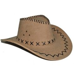 Chapeau Cowboy Marron Clair Imitation Daim Adulte