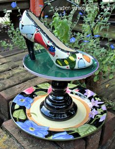 Shoe Fetish Garden Totem Centerpiece - As Featured in Valley Homes & Style Magazine. $45.00, via Etsy.