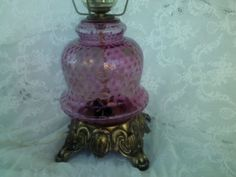 hollywood regency vintage pink table lamp rose by TheShepherdShed