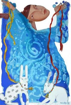 ARTFINDER: Fantasy swirl by Yelena Dyumin - The painting was inspired by the cold, snowy, ringing from frost Russian winter. The cities and villages are shrouded in white, fluffy show and pure quiet ri...