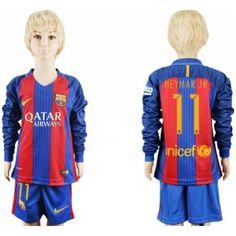 Fotballdrakter Barn Barcelona 2016-17 Neymar Jr 11 Hjemme Draktsett Langermet