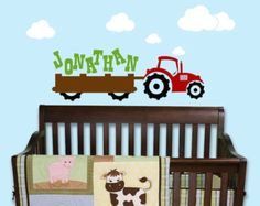 Tractor Farm Truck Boys Initial Name by ToodlesDecalStudio on Etsy