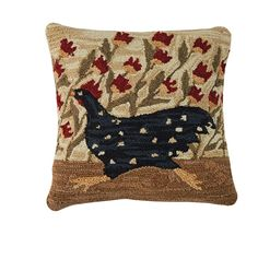 Chicken Run Rooster Hooked Polyester Pillow 18""