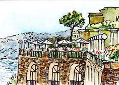 Sketching Italy Sorrento Cliff' - http://irina-sztukowski.artistwebsites.com/featured/sketching-italy-sorrento-cliff-irina-sztukowski.html