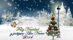 Postal navideña con mensaje de Feliz Navidad y Feliz año nuevo 2014