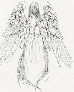 Angel tattoo designs with meanings - 38 ideas & templates - tattoo-design-girl-. - Angel tattoo designs with meanings – 38 ideas & templates – tattoo-design-girl-angel-with-wing - Angel Tattoo Designs, Tattoo Designs And Meanings, Drawing Sketches, Art Drawings, Tattoo Drawings, Angel Wings Drawing, Back Drawing, Drawing Hair, Demon Wings