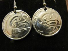 ORIGINAL HANDMADE 1960S SINGAPORE 20 CENTS  COIN EARRINGS !
