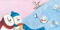 Giuditta Gaviraghi Illustration - giuditta gaviraghi, giudi, judi abbot, acrylic, paint, painted, traditional, commercial, picture book, picturebook, animals, bears, polar bears, snowing, winter