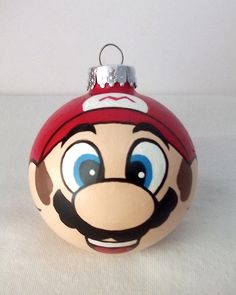 Super Mario Hand Painted Christmas Ornament Nintendo NES