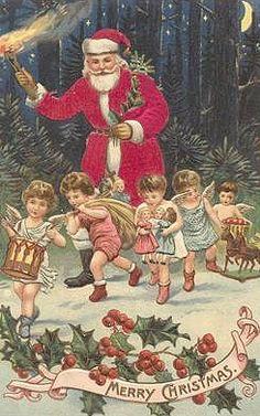 Vintage Christmas Santa & Children Postcard