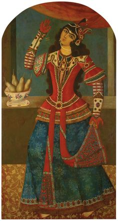 A DANCING GIRL, SIGNED BY MUHAMMAD BAQIR, PERSIA, LATE ZAND, DATED 1192 AH/1778 AD oil on canvas, signed 'ya Baqir al-'Ulum', dated in cream in the upper section, framed 150 by 80cm.