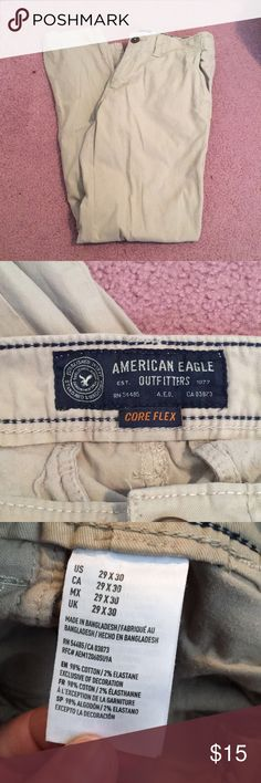 GREAT CONDITION AMERICAN EAGLE KHAKI PANTS Worn one time!!! Ae pants perfect condition!! Size 29X30 American Eagle Outfitters Pants Chinos & Khakis