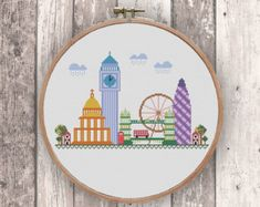 Paris modern cross stitch pattern PDF Instant by NaliaDes on Etsy
