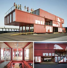 Puma City Movable Retail and Event Location Puma City was built for the 2008 Volvo Ocean Race. Overall, 24 shipping containers were used for this portable store that traveled around the world for a year. The light-filled, airy interior is a whopping 11,000 square feet and features plug-in HVAC and electrical systems, allowing it to be simply plugged in at each location. Between locations, the store was taken apart and loaded onto a cargo ship to be transported.